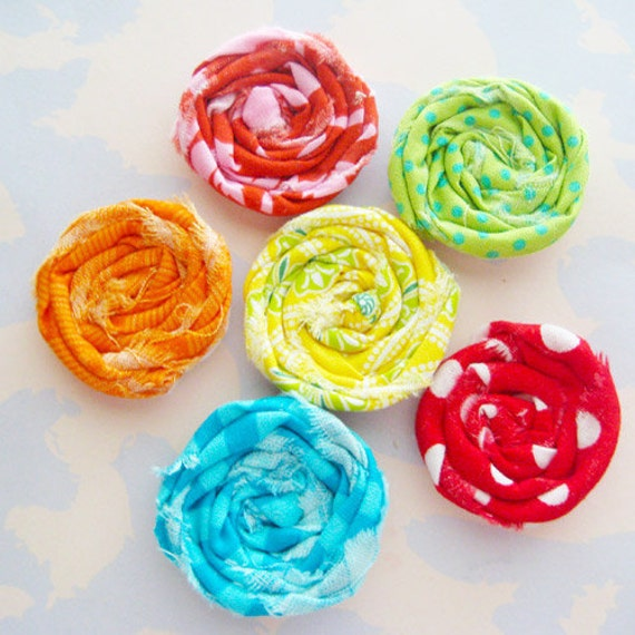 Set of Six Mini Rosette Flower Embellishments