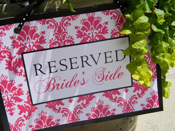 Printable Signs - Reserved for Bride's Side and Groom's Side
