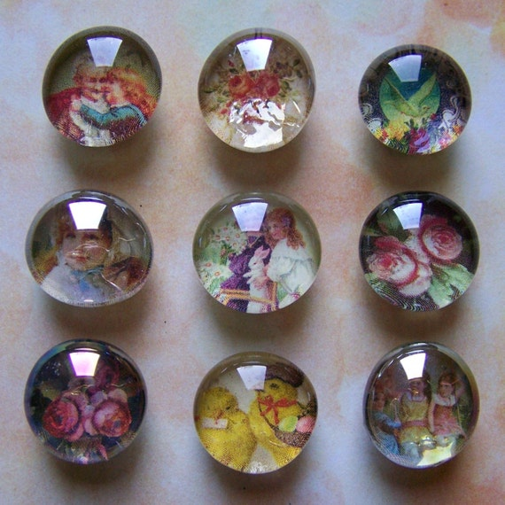 Set of 9 Upcycled Victorian Flora Fauna Glass Marble Magnets