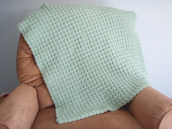 Sage Green Afghan 31 x 35 inches