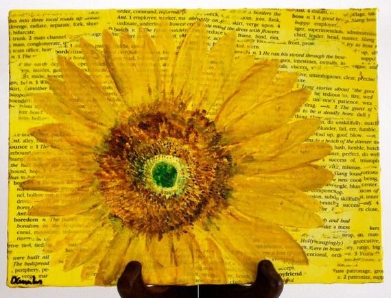 Желтый картина подсолнечника ... пчелы идут ...