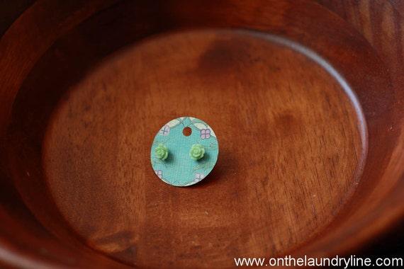 Spring Bud petite rose earrings