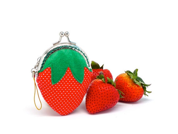 Kawaii Coin Purse, Mini Strawberry, Kisslock Metal Clasp Frame, Change Pouch, Red Polka Dot Cotton, Green Felt, Summer Fruit