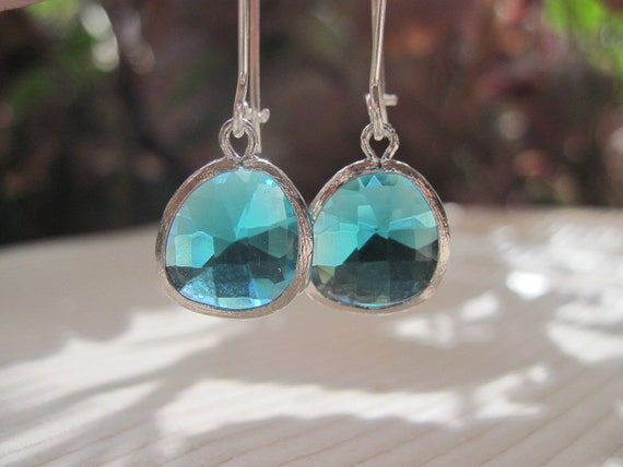 Silver Framed Blue Zircon Glass Stone Pendant Earrings