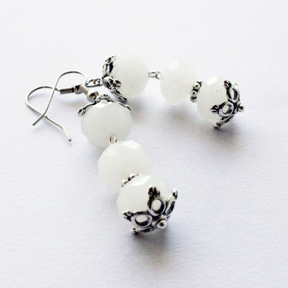 White Bells - Quartz Earrings