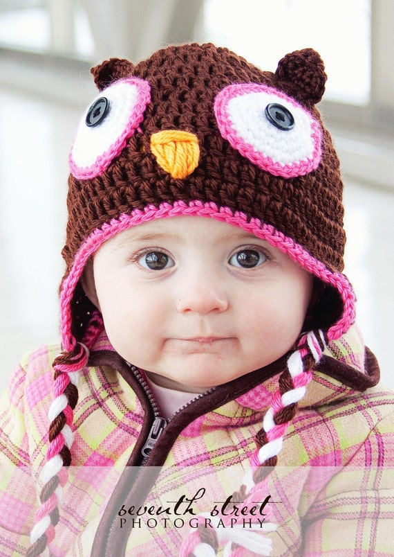 bright pink owl hat newborn to 3T