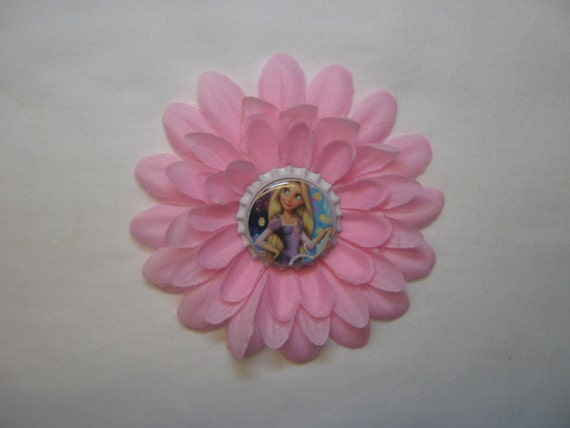Princess Rapunzel, Tangled, Bottle Cap Hair Flower Clippie