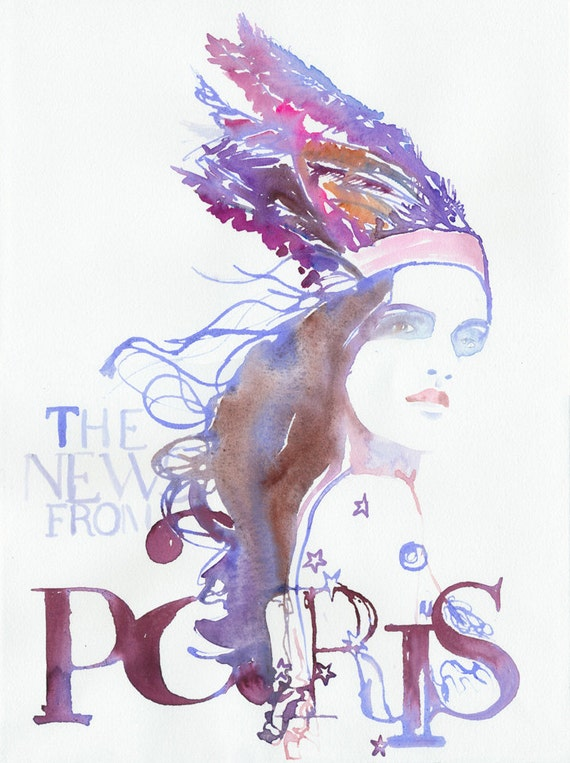 Watercolour Fashion Illustration - The News from Paris (feathers)