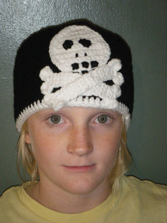 Handmade Crochet Skull and Crossbones hat - custom - any Size/color combination