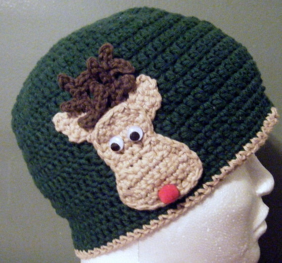 Handmade Crochet Reindeer Hat - custom - any size/color combination