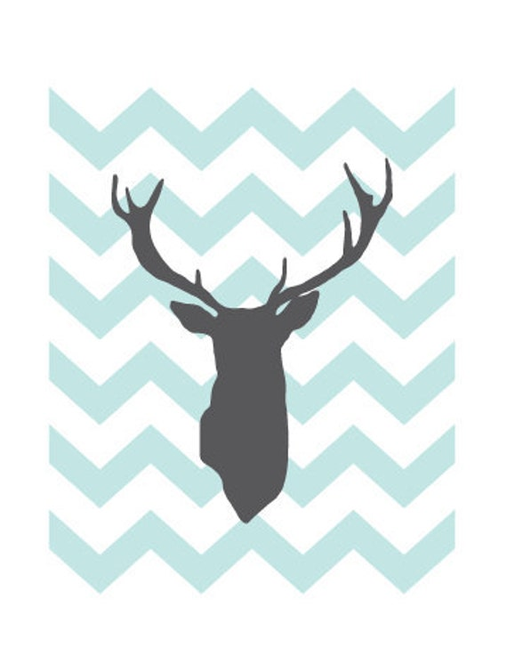 Deer Antlers 8x10 Archival print, illustration, graphic design, vector, aldari,chevron, zigzag