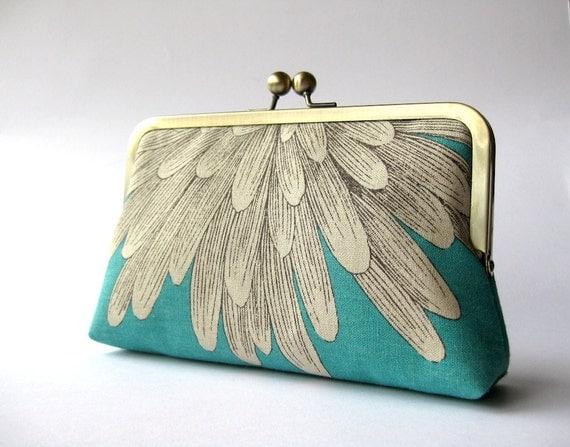 white petals clutch purse