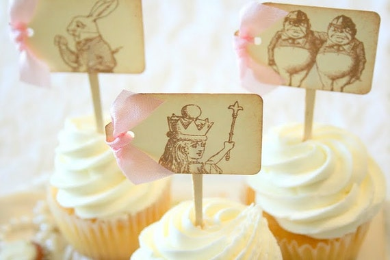 Alice in Wonderland Cupcake Toppers / Food Picks - You Pick Ribbon Color