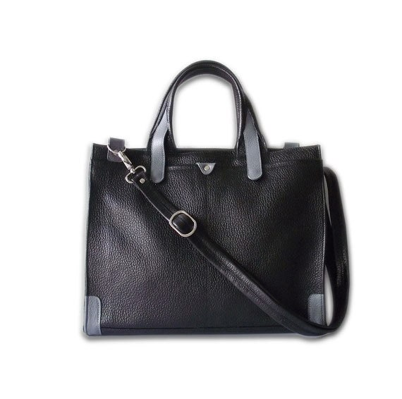 I.E. in black pebble leather with grey trimming handbag / shoulder bag / tftateam