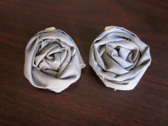 Pair of Matching Gray Rosette Hair Clip Accessories