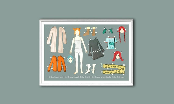 The Kate Winslet (Eternal Sunshine's Clementine Kruczynski) paper doll 18x12 inches print