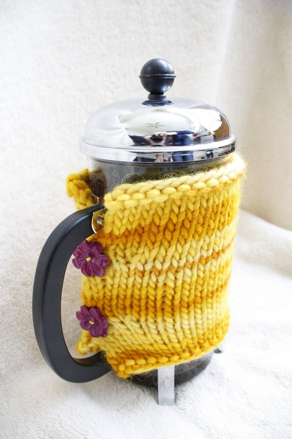 French Press Cozy - Mustard, Plum