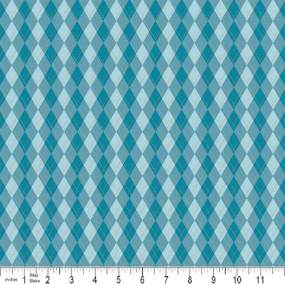 Riley Blake Hooty Hoot Argyle in Blue Flannel, 1 Yard