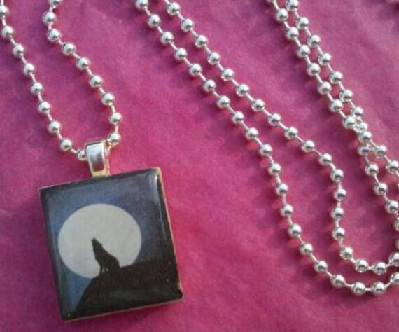 Twilight Wolf Scrabble Tile Necklace