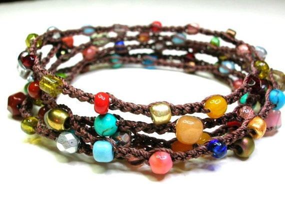 Surfer crochet Bohemian wrap bracelet or long necklace.  Boho-chic multi-color stones, czech glass