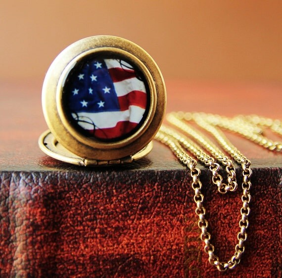 Liberty- American Flag Photo Locket Necklace- Collaboration with Julie Chen of lifeverse