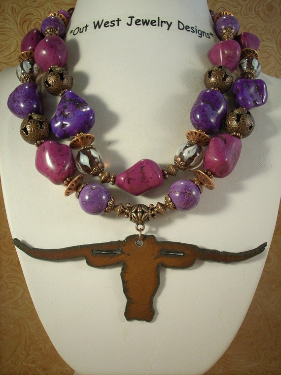 Purple Turquoise Texas Longhorn Rodeo Cowgirl Necklace