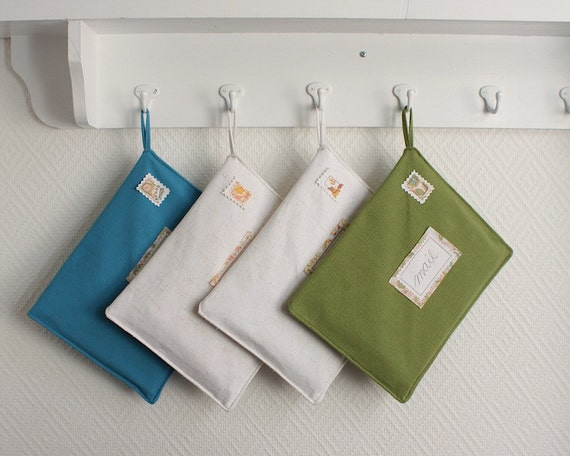 postcards from europe - mail organizer, linen