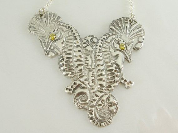 Seahorses and Reef Solid Silver Pendant and Necklace