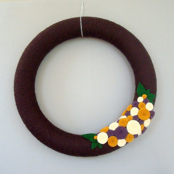 "Chocolate brown yarn wreath.  14 ""Door Wreath with brown, mustard, purple and cream flowers felt. Fall home decor at Heartfelt Wreaths yarn."