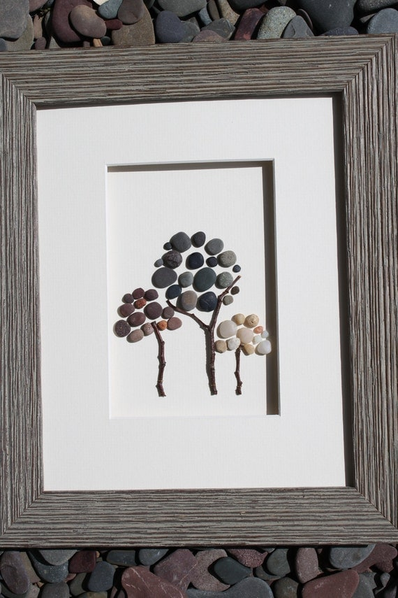 Three trees, Pebble Art of Nova Scotia by Sharon Nowlan