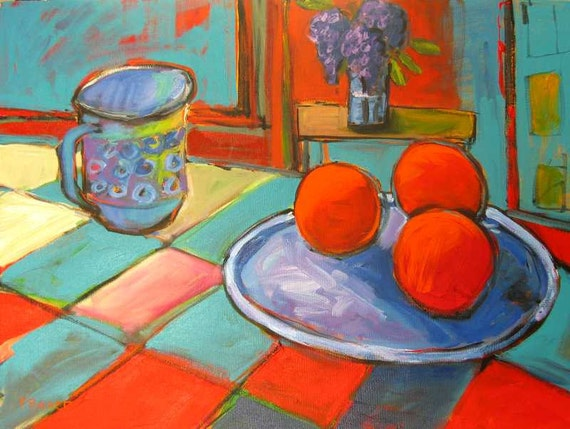 Still Life with Oranges, Lilacs and Mug  FREE SHIPPING