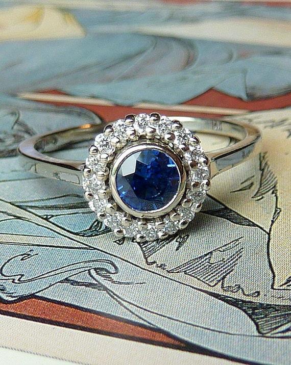 Bezel Set Blue Sapphire Halo Ring