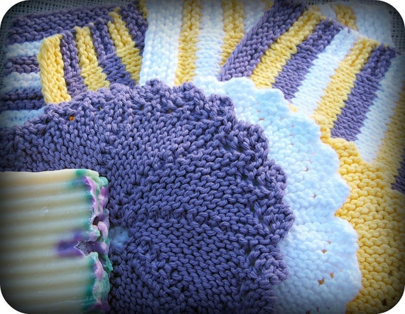 Set of 7 Dish Clothes in Purple, Yellow & White, Hand Knit 100% Cotton