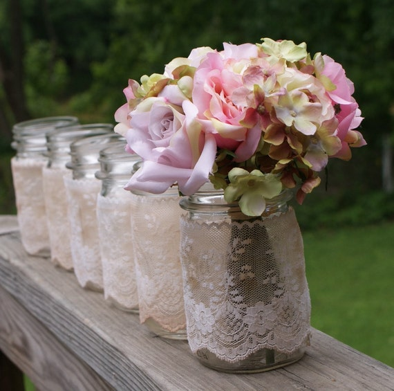 set of 6 vintage jars, centerpieces vases candles romantic  vintage  cottage  beach shabby chic coastal antique farmhouse garden outdoor