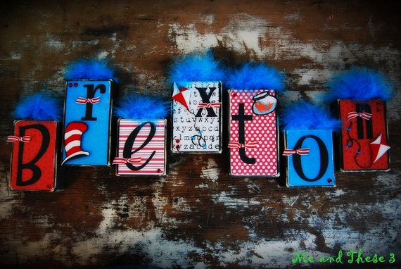 Wooden name blocks customized with your theme -- Dr. Seuss inspired Cat In The Hat theme--black red turquoise white