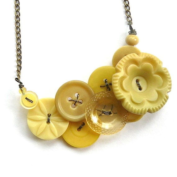 Pale Yellow Flower Vintage Button Statement Necklace