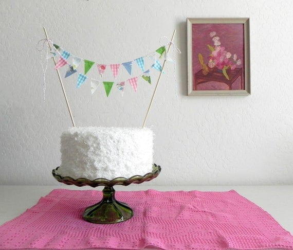 Happy Birthday Fabric Cake Bunting Decoration