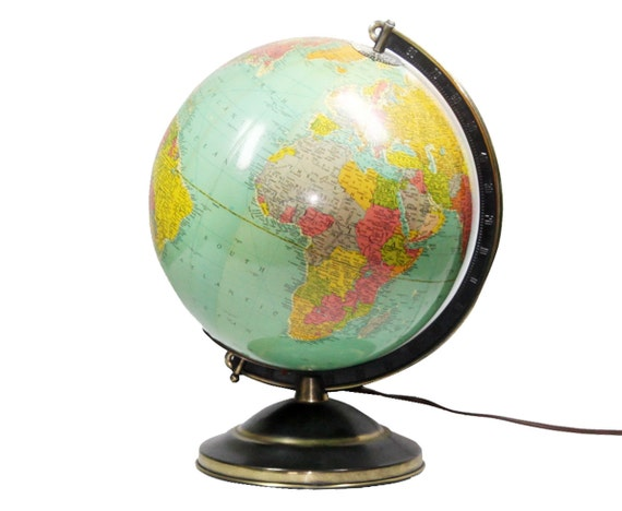 Vintage Glass Replogle Illuminted Globe