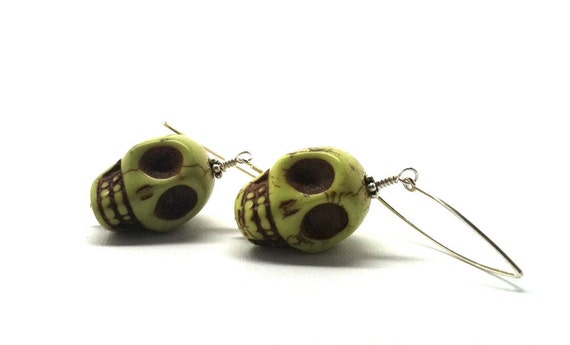 Earrings Skulls Lime Green Long Sterling Silver
