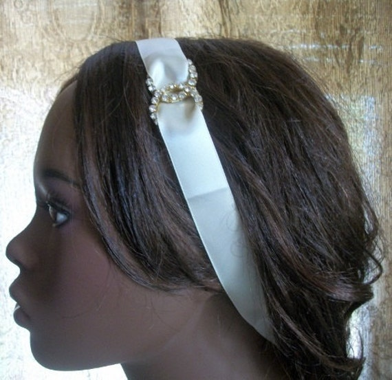 Ivory Rhinestone Ribbon Headband