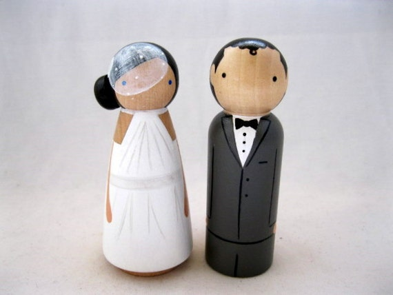 Personalized Wood Doll Wedding Cake Topper