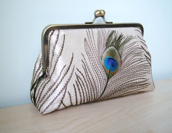 EllenVINTAGE Silk Peacock Clutch With Silk Lining