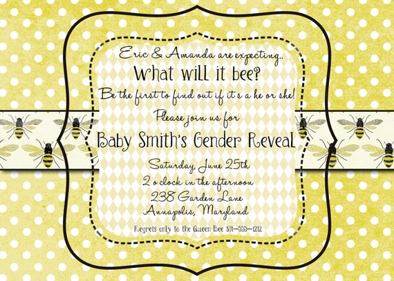 Honeybee Gender Reveal Invitation, Custom Printable