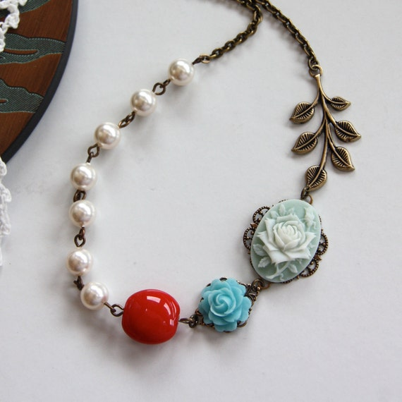 A Spring Garden Necklace.  Spring and Summer Inspired, Romantic, Sweet. A Great Gift. Garden Weddings.