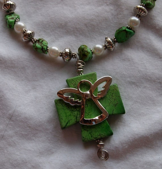 Green Magnesite Cross with Silver Angel Necklace