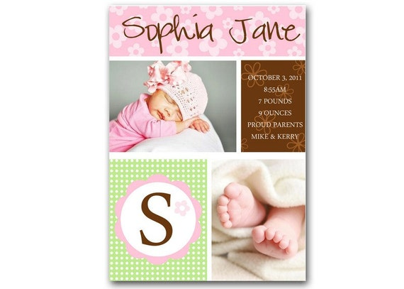 SWEET FLOWERS Birth Announcement for Baby Girl. Little Flowers and multiple photos