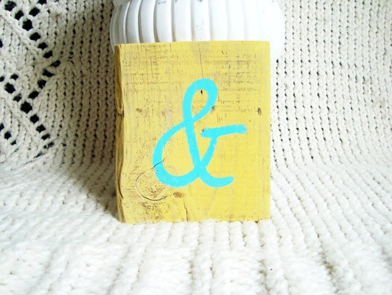 Ampersand in Turquoise on Bright Creamy Yellow