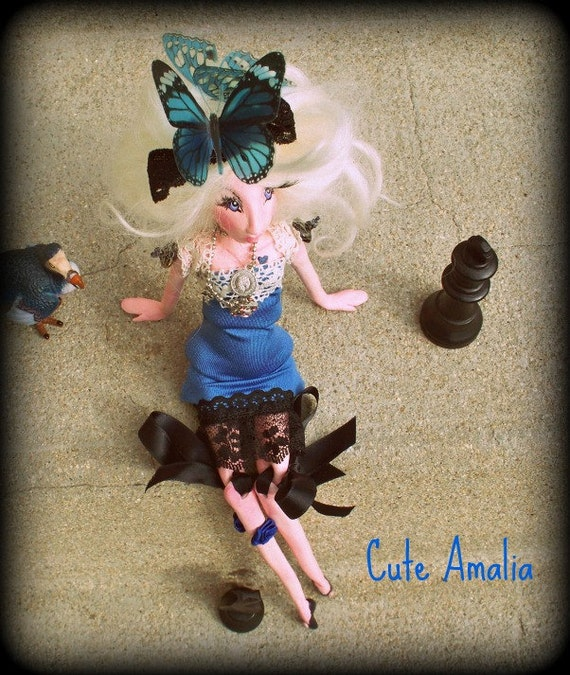 "OOAK  Jointed Art Doll ""Alice"" in air dry clay Handmade"