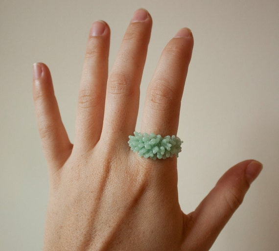 Glass Cluster Ring - Mint