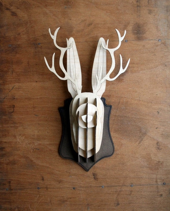 Wooden jackalope head